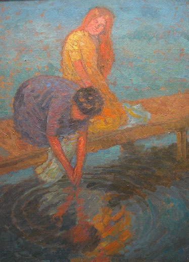 154: Roy Gamble lg Oil painting American women washing