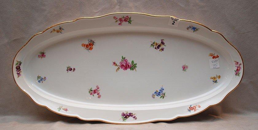 """2: Meissen elongated platter, floral sprays around, 24"""""""