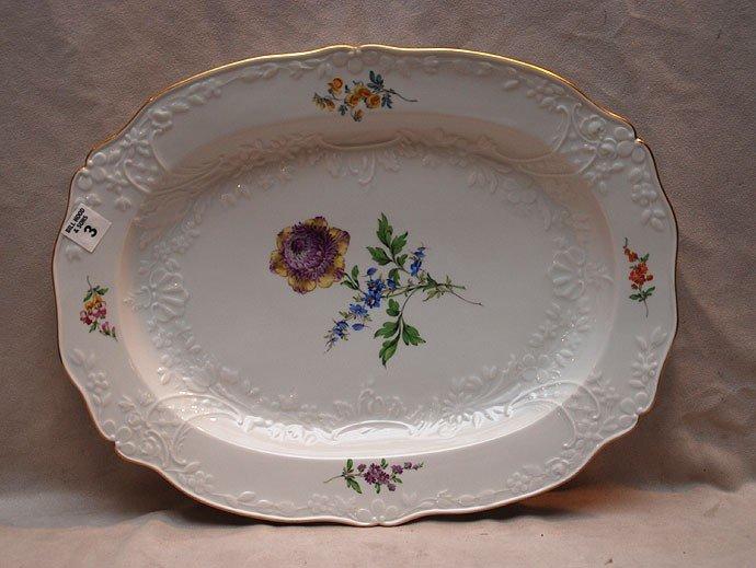 """3: Meissen platter with floral sprays, 17 1/4""""L x 13 1/"""
