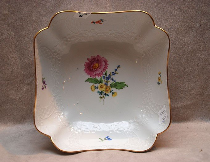 "6: Meissen open square bowl, 3 1/2""h x 9""w"