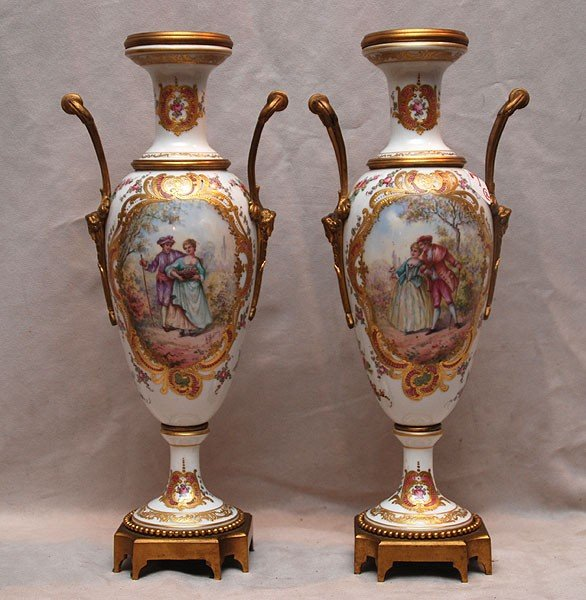 7: Pair of Meissen or style urns with courting scenes a