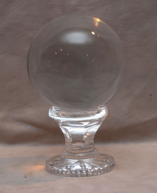 """12: Crystal orb on Waterford stand, 7 12/""""h x 4 1/2""""w"""