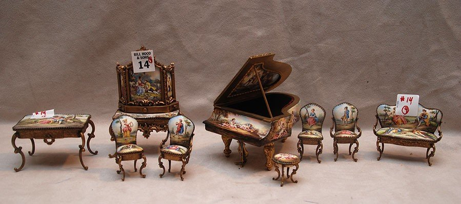 14: 10 pc. Miniature Enameled and gilded Austrian furni