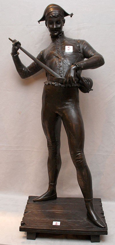 15: Bronze sculpture of harlequin, 19th c, P. Debois, 2