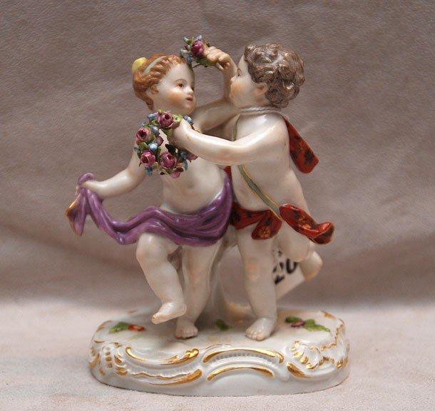 "20: Meissen figurine of mythological boy and girl, 4""h"