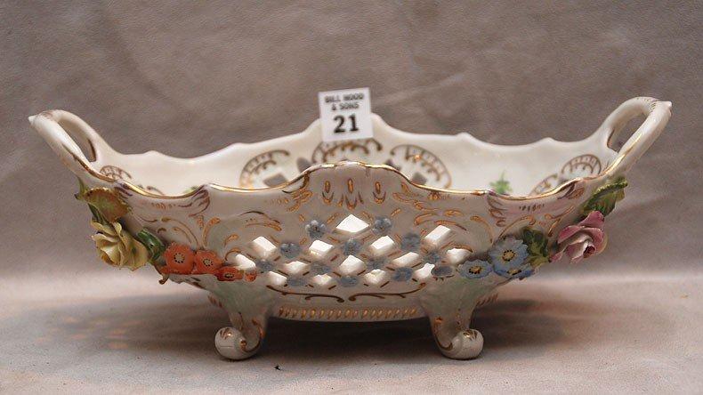 "21: Dresden oval pierced fruit bowl, 4""h x 6 3/4""w"