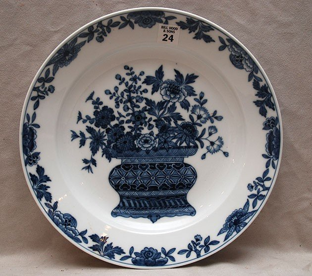 24: Meissen blue & white shallow bowl, Asian influence,