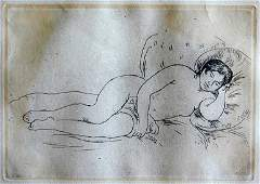 43 RENOIR ETCHING NUDE FEMALE ON COUCH An etching by P