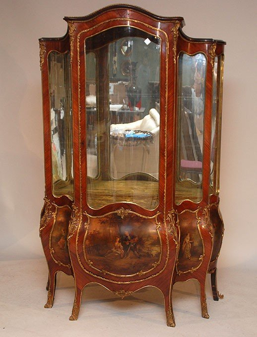187: French Louis XV style ornate parquetry king wood v