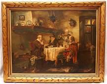 207: August Rixen (GERMAN, 1897) oil on canvas, 4 men i