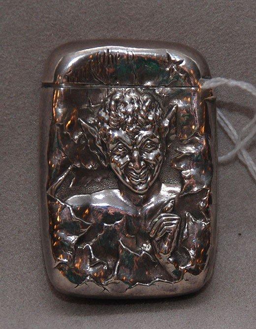 244: Gorham Sterling Match Safe depicting devil on fron