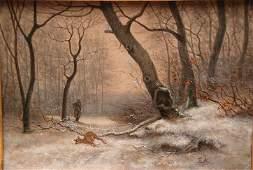 281: American School 19th Century oil on canvas, Hunter