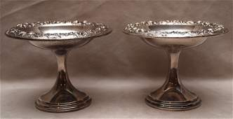 311: Pair of S.Kirk & Son sterling compotes, repousse f
