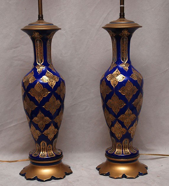 382: Pair of footed glass cobalt blue table lamps with