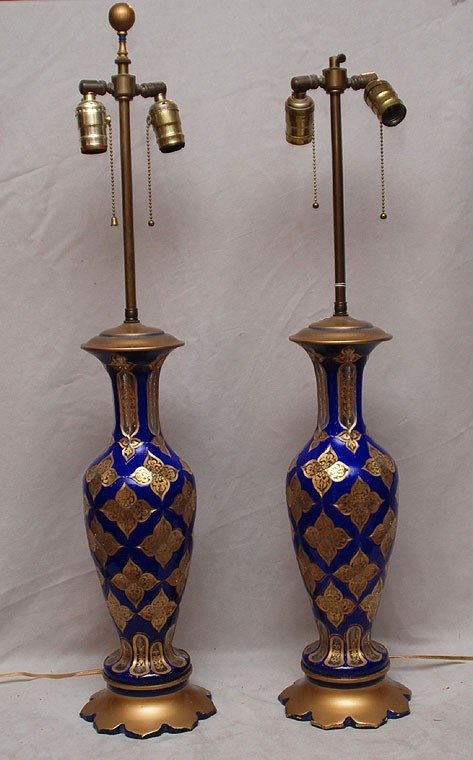 382: Pair of footed glass cobalt blue table lamps with  - 2