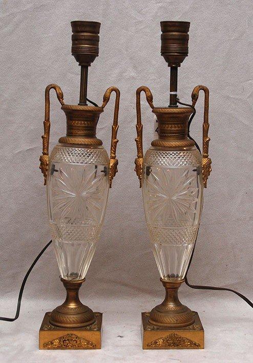 453: Pair of French cut glass & gilt bronze urn form la