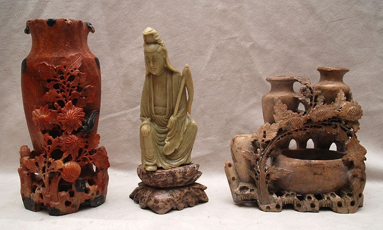501: 3 assorted soapstone carvings in different colors