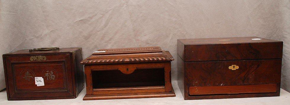 505: 3 antique boxes, 1 oriental slide revealing drawer