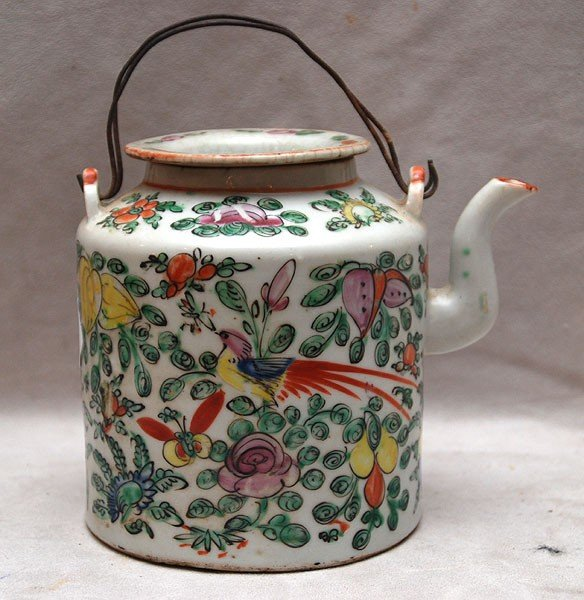 507: Chinese teapot with seal on bottom, wire handles,
