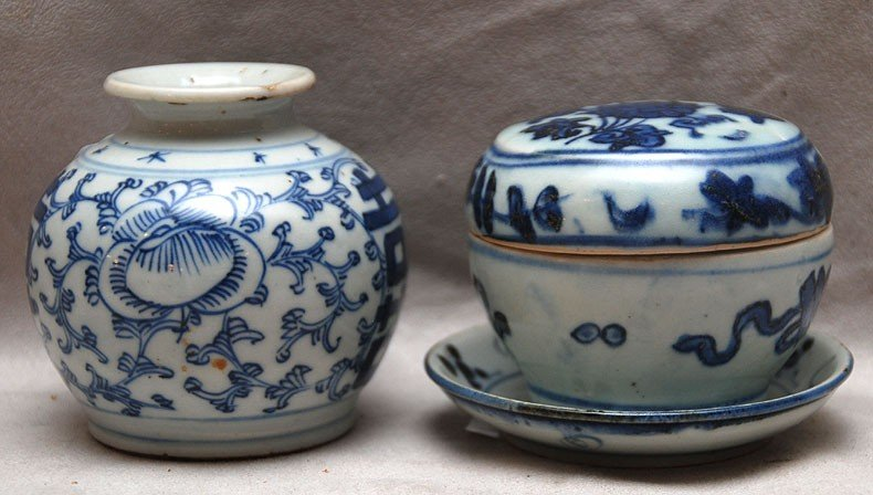 """510: 3 pieces blue Chinese, incl; 1 covered box 2 3/4""""h"""