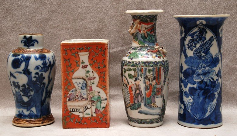 """513: 3 assorted Chinese vases, 2 with seals, 5 1/2""""h to"""