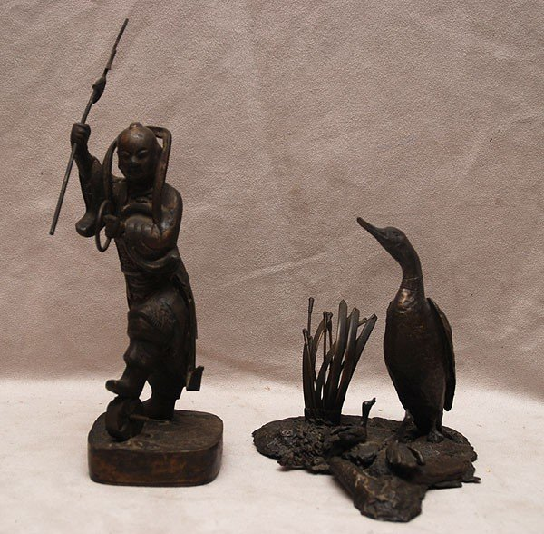 515: 2 sculptures; Chinese bronze figure dancing with s