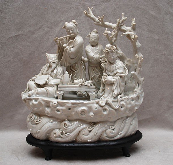 """518: Blanc de chin figural grouping """"serving tea"""" on co"""