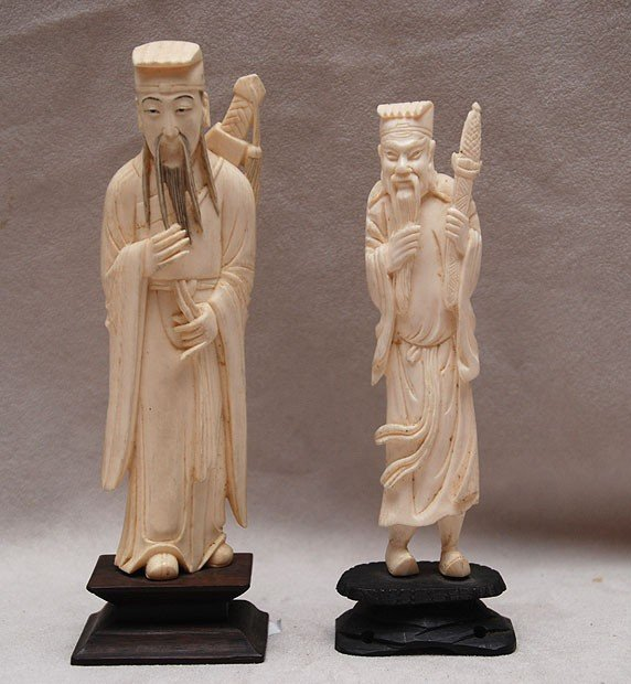 """523: 2 Ivory Chinese """"elders"""" 5 1/2"""" high x 1 1/2"""" wide"""