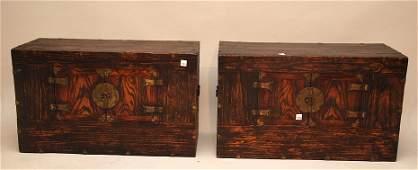 582: Pair 19th c. oriental chests, 2 doors revealing st