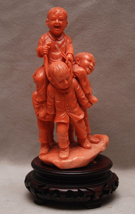 598: CHINESE CULTURAL REVOLUTION CORAL CARVING OF BOYS