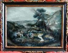 650 ANTIQUE CHINESE EXPORT REVERSE PAINTING ON GLASS A