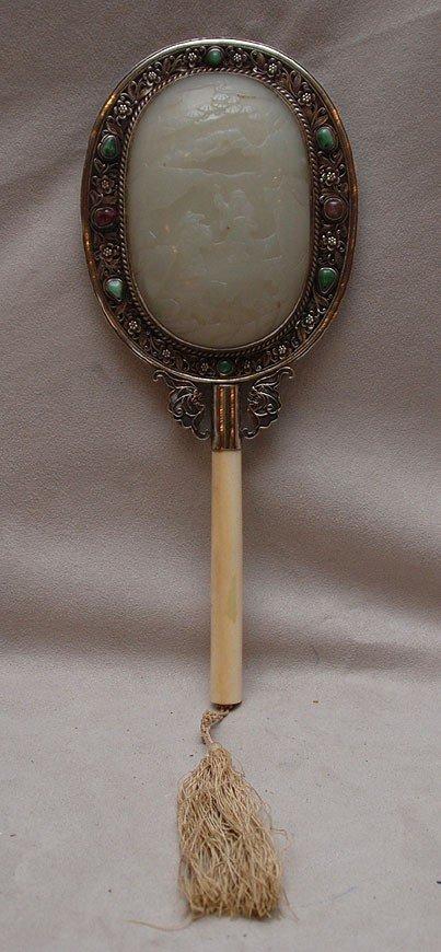 677: Chinese silver, jade and ivory ladies vanity mirro