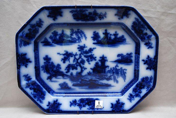 """1: Flow blue oval platter, 17 3/4""""w x 1 1/2""""h"""