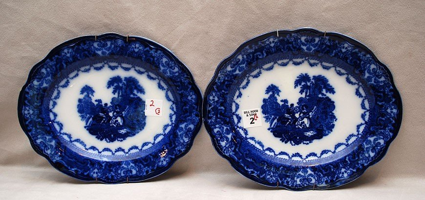 """2: Flow blue matching oval platters, both approx. 10"""" x"""