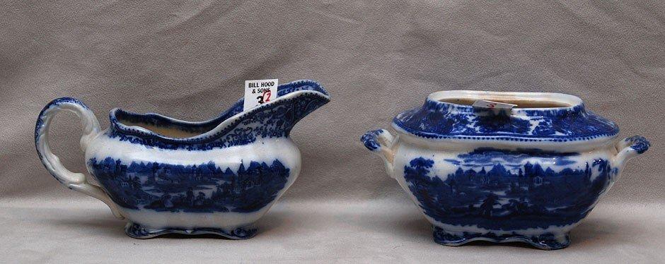 3: 2 oval flow blue pieces, sugar bowl (no cover) 3 1/2