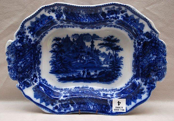 """4: Flow blue open vegetable bowl, 2 1/8""""h x 12""""w"""