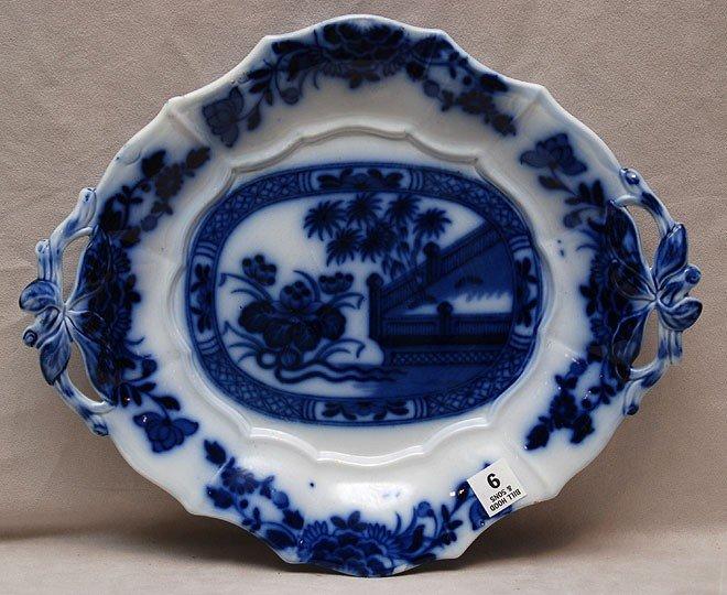 """9: Flow blue platter, 15""""w"""