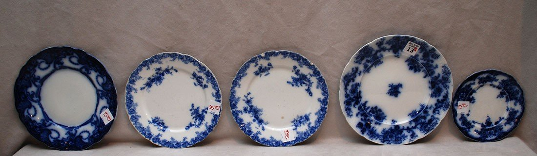 13: 9 Flow blue assorted plates (some chips)