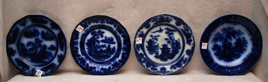 16: 4 assorted Flow blue plates