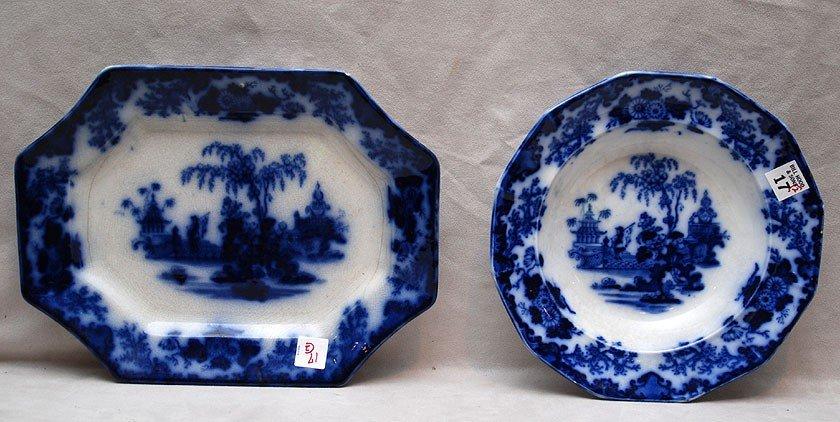17: 2 pieces Flow blue; platter and bowl (J&G Alcock)