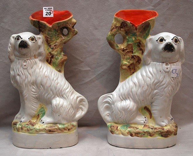 "20: Pair of Staffordshire Spaniel spill vases, 13""h x 8"