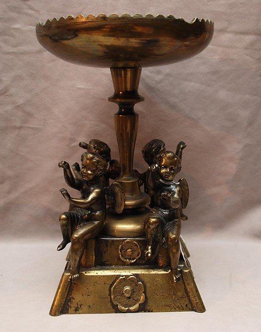 """1: Bronze pedestal centerpiece with 4 puttis, 12""""h"""