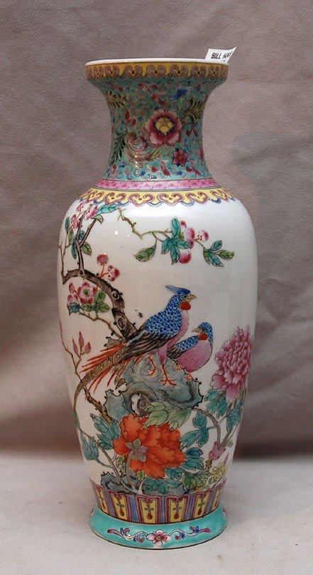 2: Chinese baluster form vase, birds and floral design,