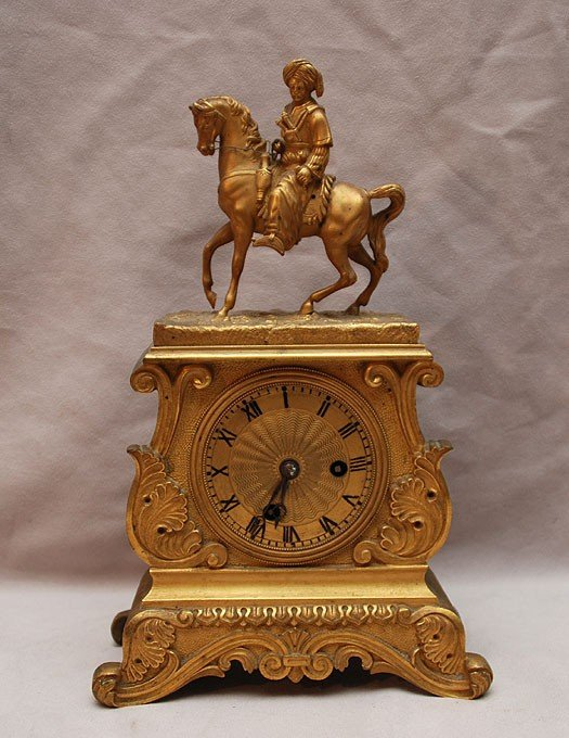 3: French dore bronze clock with horseman on top, 10 1/