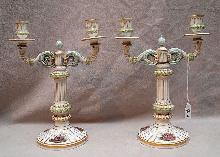 "4: Pair of Meissen 2 light candleholders, 10""h"