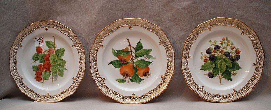 7: 6 Royal Copenhagen Flora Danica plates, pierced with