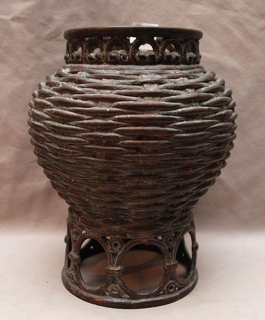 9: Bronze Asian vase in the form of woven basket with a