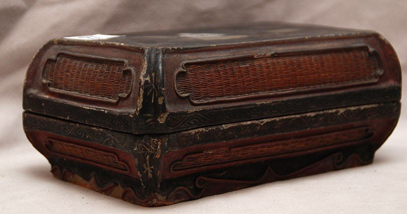 10: Chinese 19th c. lacquered paper mache box, fabric i