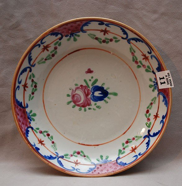 """11: Early porcelain shallow dish, 9 1/4""""dia"""