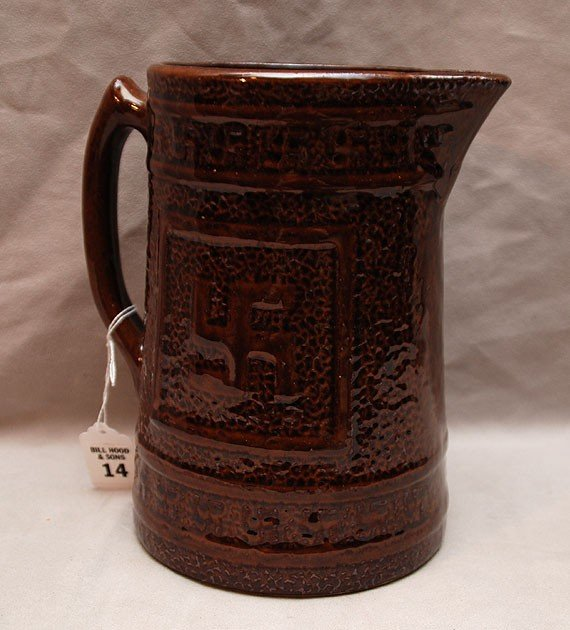 14: Pottery pitcher with Indian cross marking, brown gl - 2